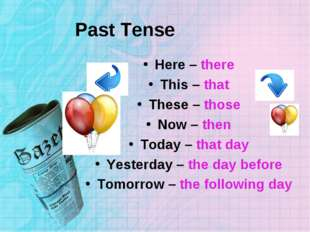 Past Tense Here – there This – that These – those Now – then Today – that day