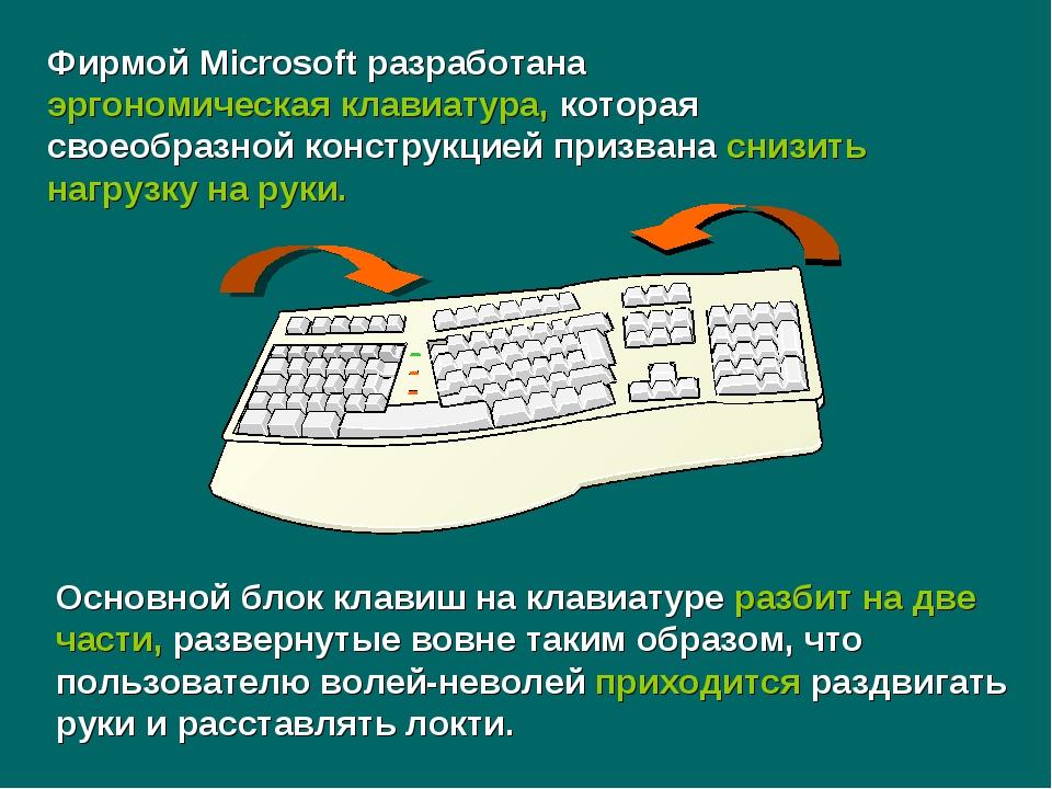 Основной блок клавиш на клавиатуре разбит на две части, развернутые вовне так...