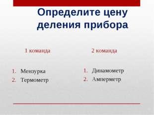 Определите цену деления прибора Динамометр Амперметр Мензурка Термометр 1 ком
