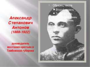Александр Степанович Антонов (1888-1922) руководитель восстания крестьян в Т