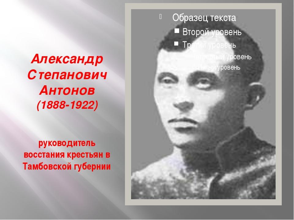 Александр Степанович Антонов (1888-1922) руководитель восстания крестьян в Т...