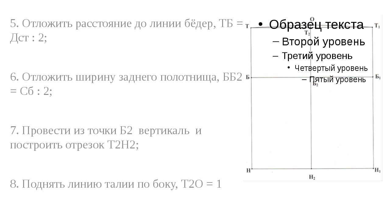 5. Отложить расстояние до линии бёдер, ТБ = Дст : 2; 6. Отложить ширину задне...