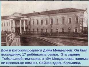 Дом в котором родился Дима Менделеев. Он был последним, 17 ребёнком в семье.