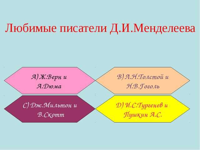 Любимые писатели Д.И.Менделеева