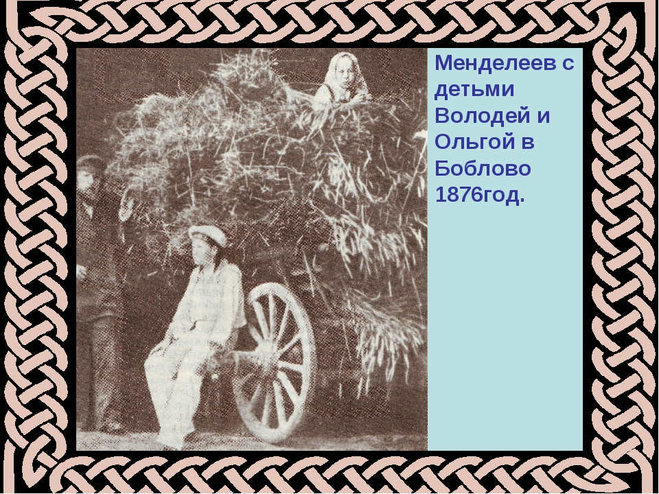 Менделеев с детьми Володей и Ольгой в Боблово 1876год.