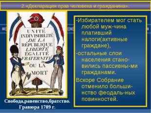 -Избирателем мог стать любой муж-чина плативший налоги(активные граждане), -о