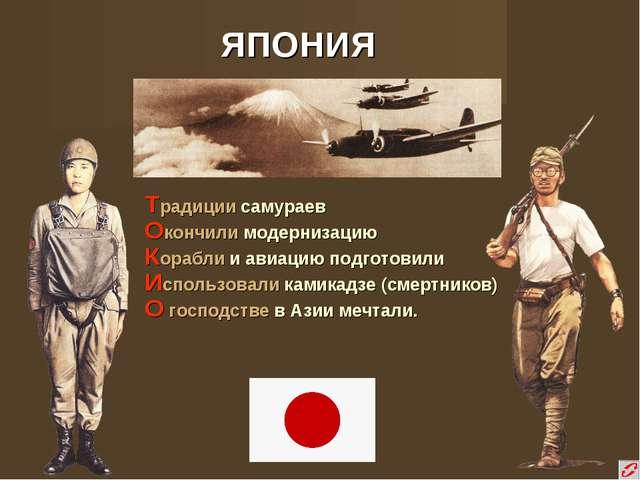 ЯПОНИЯ Традиции самураев Окончили модернизацию Корабли и авиацию подготовили...
