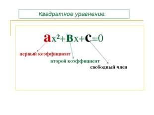 ах²+вх+с=0 первый коэффициент второй коэффициент свободный член Квадратное у