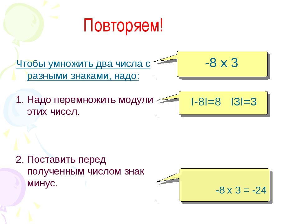 самостоятельной чтобы умножить числа с разными знаками надо такие