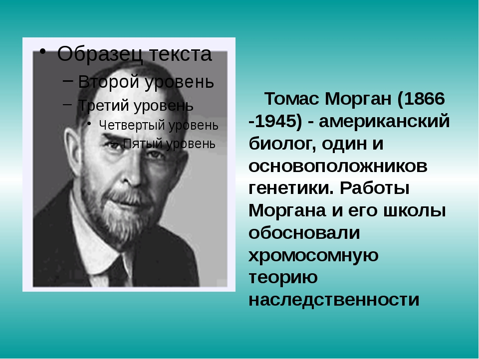 Томас Морган (1866 -1945) - американский биолог, один и основоположников ген...