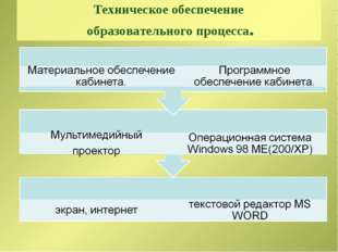 Техническое обеспечение образовательного процесса.