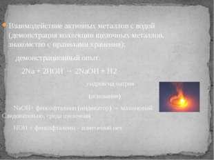 Взаимодействие активных металлов с водой (демонстрация коллекции щелочных мет