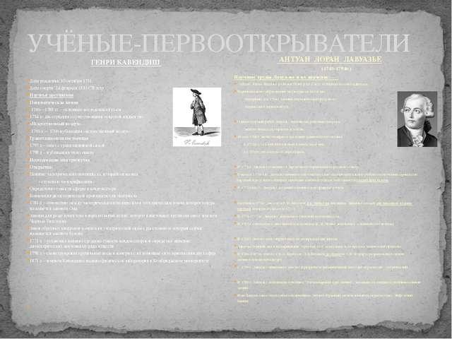 УЧЁНЫЕ-ПЕРВООТКРЫВАТЕЛИ ГЕНРИ КАВЕНДИШ Дата рождения: 10 октября 1731 Дата с...