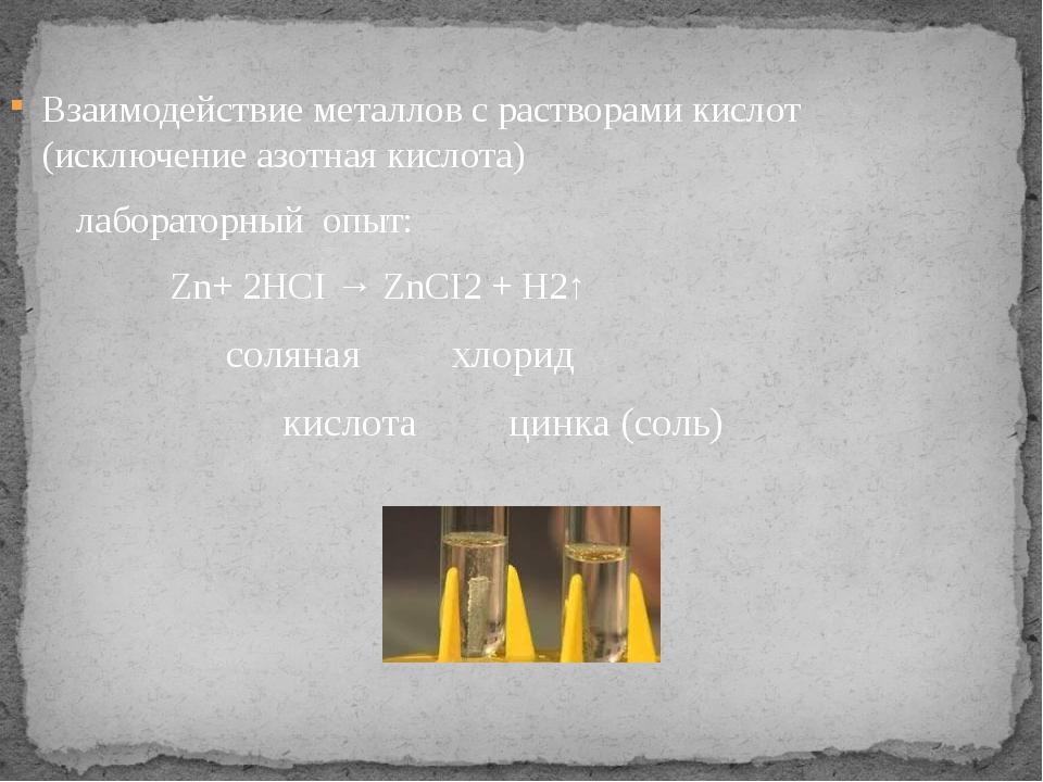 Взаимодействие металлов с растворами кислот (исключение азотная кислота) лабо...