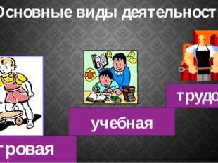 игровая учебная трудовая Основные виды деятельности
