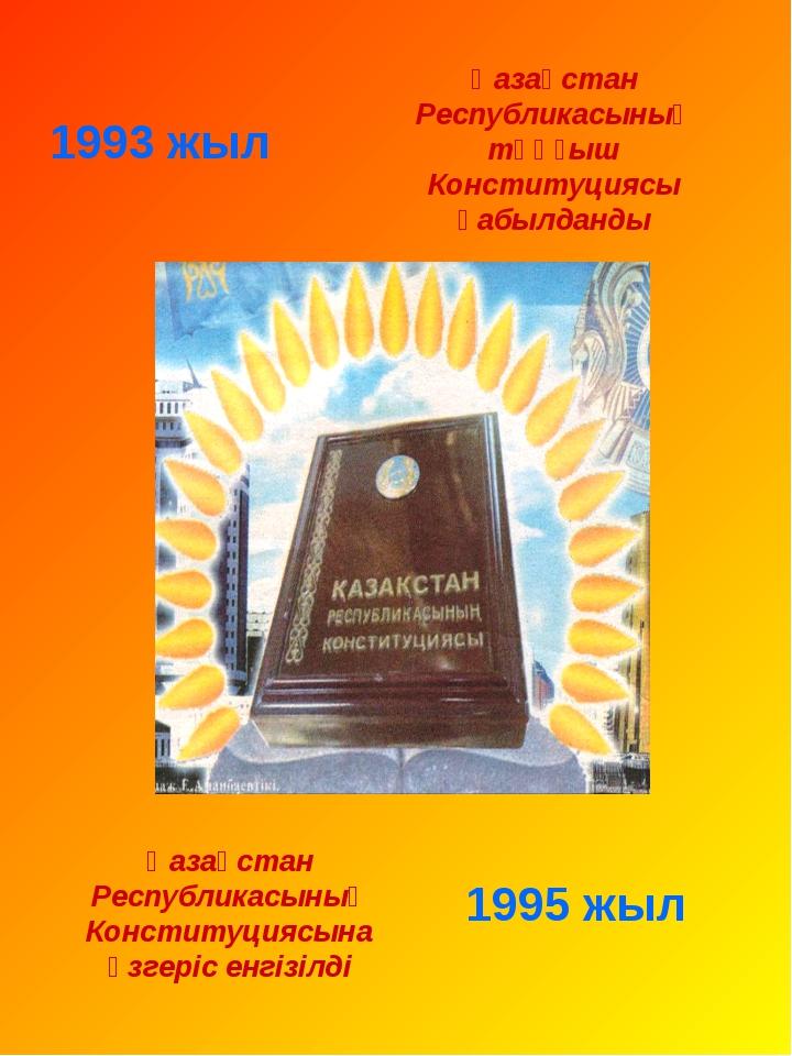 1993 жыл 1995 жыл Қазақстан Республикасының Конституциясына өзгеріс енгізілді...