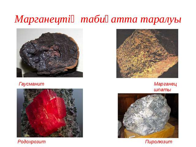 Марганецтің табиғатта таралуы Гаусманит Марганец шпаты Пиролюзит Родохрозит