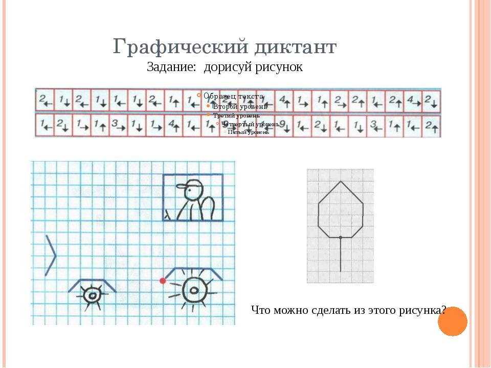Графический диктант Задание: дорисуй рисунок Что можно сделать из этого рисун...