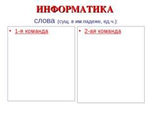 ИНФОРМАТИКА слова (сущ. в им.падеже, ед.ч.): 1-я команда 2-ая команда