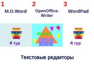4 тур 4 тур 1 M.O.Word2 OpenOffice. Writer3 WordPad  Текстовые редакторы