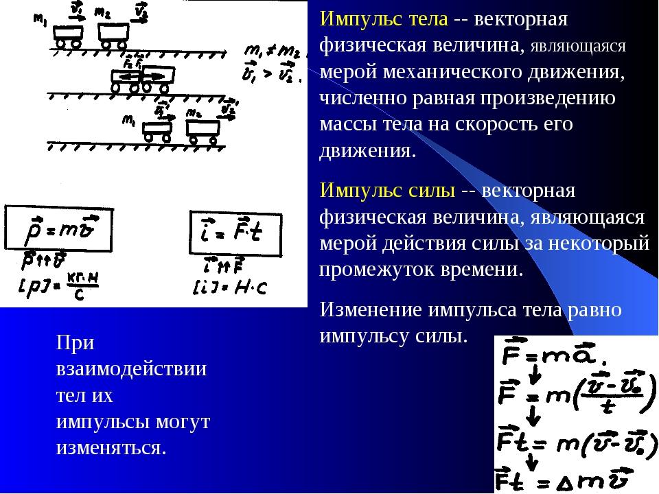 Импульс тела -- векторная физическая величина, являющаяся мерой механического...