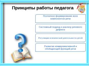 Системный подход к анализу речевого дефекта Принципы работы педагога Регуляци