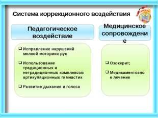 Система коррекционного воздействия Педагогическое воздействие Медицинское соп