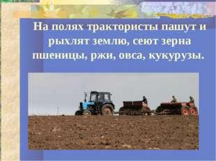 На полях трактористы пашут и рыхлят землю, сеют зерна пшеницы, ржи, овса, кук
