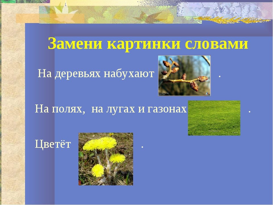 Замени картинки словами На деревьях набухают . На полях, на лугах и газонах ....