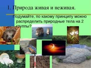 1. Природа живая и неживая. Подумайте, по какому принципу можно распределить