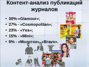 Контент-анализ публикаций журналов 30%-«Glamour»; 27% - «Соsmopolitan»; 23% -