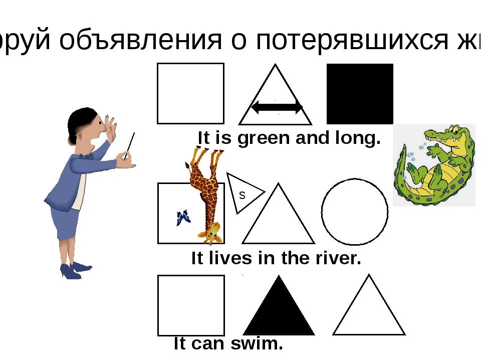 Расшифруй объявления о потерявшихся животных. s It is green and long. It live...