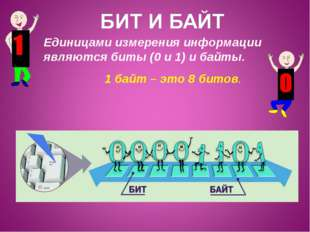 Единицами измерения информации являются биты (0 и 1) и байты. 1 байт – это 8