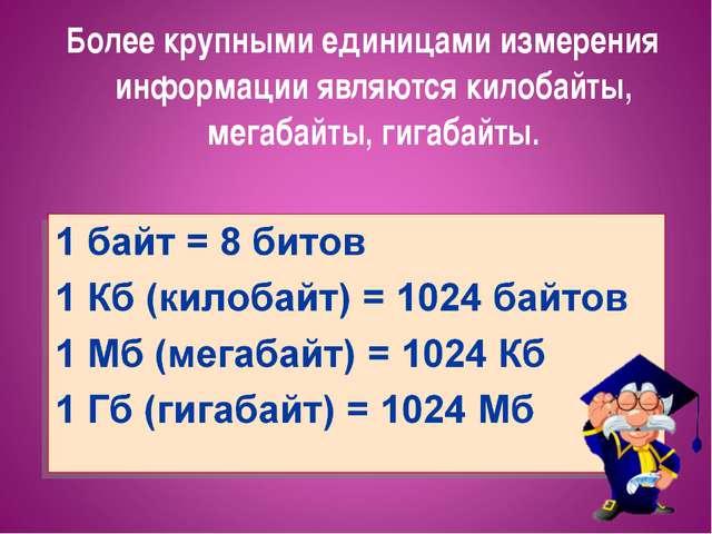 Более крупными единицами измерения информации являются килобайты, мегабайты,...