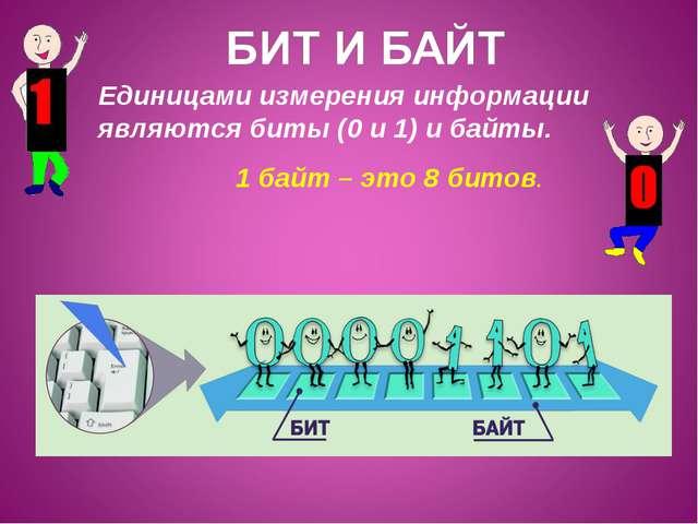 Единицами измерения информации являются биты (0 и 1) и байты. 1 байт – это 8...