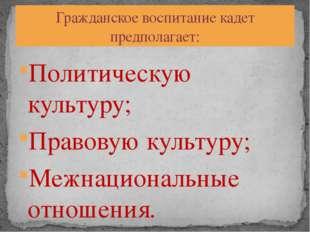 Политическую культуру; Правовую культуру; Межнациональные отношения. Гражданс