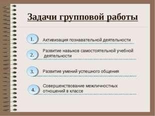 Задачи групповой работы 1. Активизация познавательной деятельности 2. 4. 3. Р