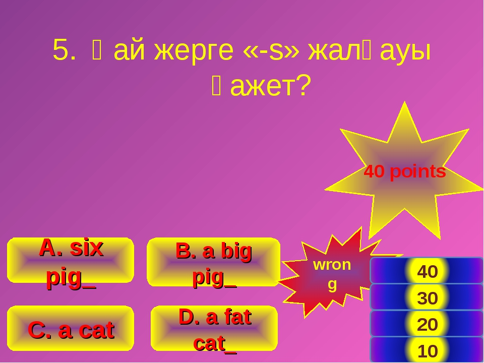 B. a big pig_ A. six pig_ C. a cat D. a fat cat_ 40 points wrong Қай жерге «-...