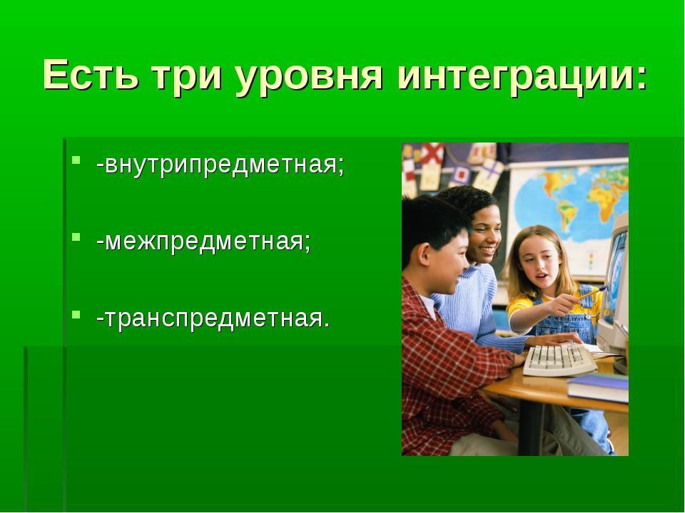 Есть три уровня интеграции: -внутрипредметная; -межпредметная; -транспредметн...