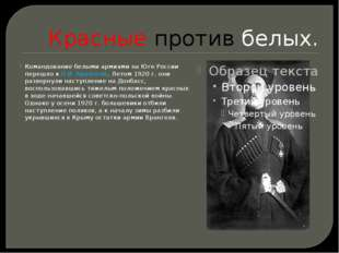 Красные против белых. Командование белыми армиями на Юге России перешло к П.И
