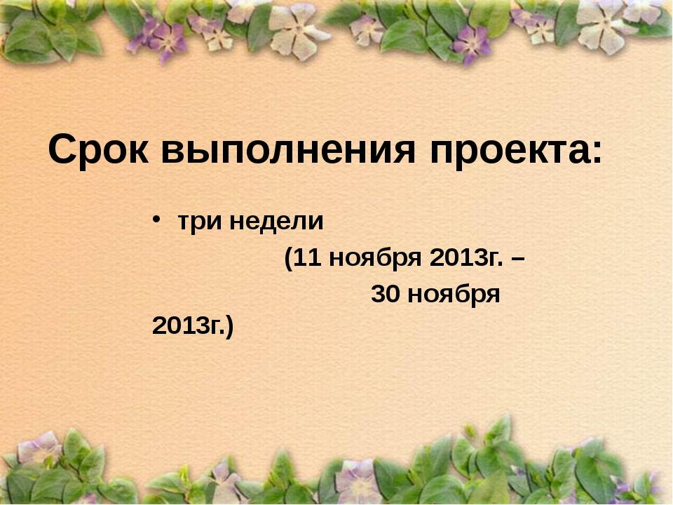 Срок выполнения проекта: три недели (11 ноября 2013г. – 30 ноября 2013г.)