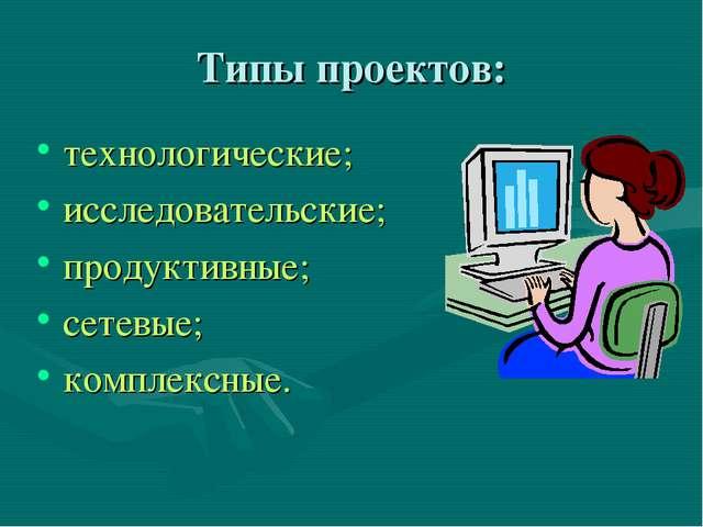 Типы проектов: технологические; исследовательские; продуктивные; сетевые; ком...