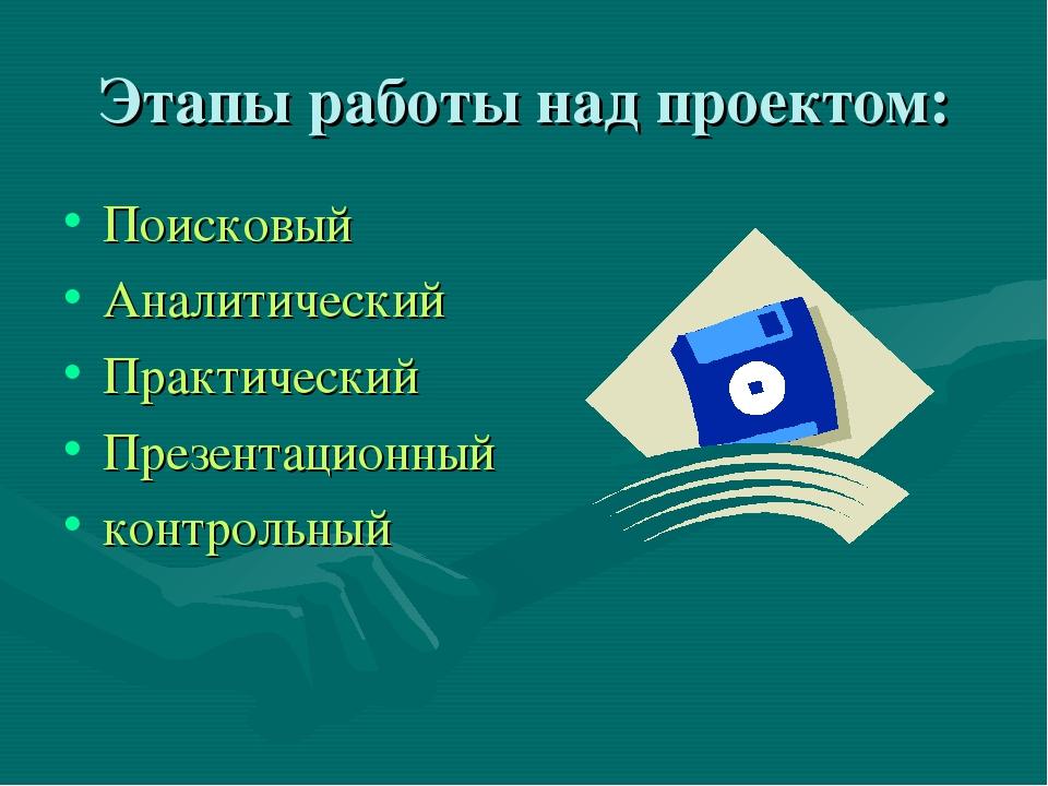 Этапы работы над проектом: Поисковый Аналитический Практический Презентационн...