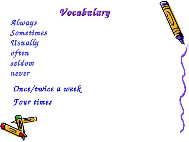 Always Sometimes Usually often seldom never Vocabulary Once/twice a week Four...