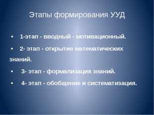 Этапы формирования УУД • 1-этап - вводный - мотивационный. • 2- этап - открыт