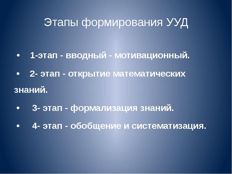 Этапы формирования УУД • 1-этап - вводный - мотивационный. • 2- этап - открыт...