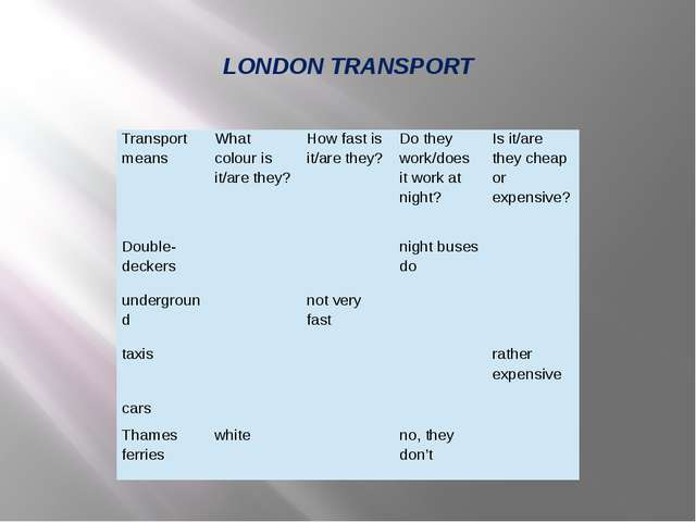 LONDON TRANSPORT Transport means Whatcolouris it/are they? How fast is it/are...