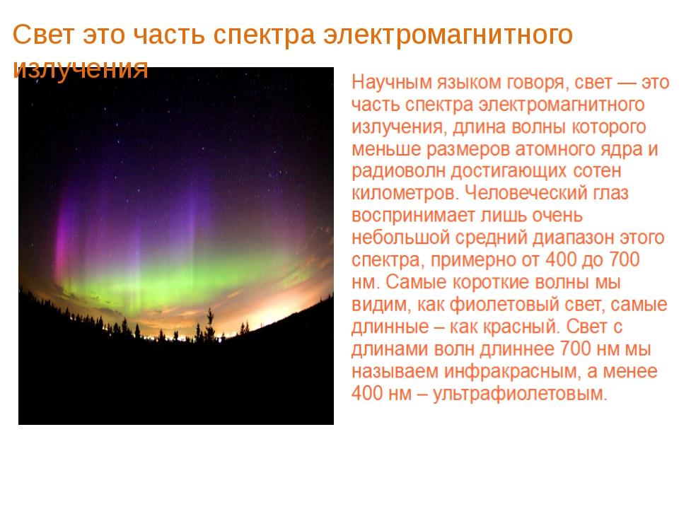 Свет это часть спектра электромагнитного излучения