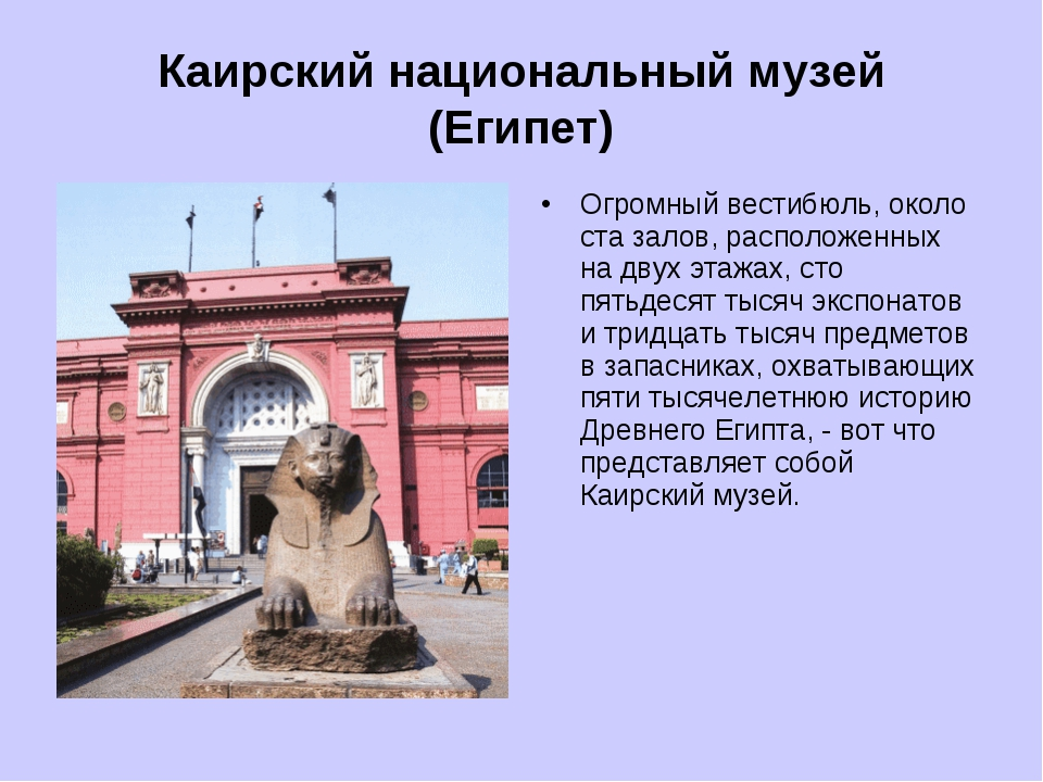Каирский национальный музей (Египет) Огромный вестибюль, около ста залов, ра...
