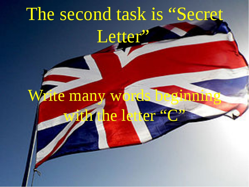 "The second task is ""Secret Letter"" Write many words beginning with the letter..."